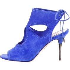 Pre-owned Aquazzura Suede Sexy Thing Sandals ($330) ❤ liked on Polyvore featuring shoes, sandals, blue, suede shoes, suede leather shoes, blue suede shoes, sexy blue shoes and tie sandals