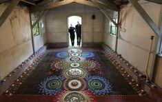 Fibre artist uses hundreds of materials to make kaleidoscopic patterns