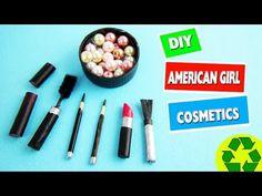 DIY AMERICAN GIRL MAKEUP:  Mineral powder, lipstick, eyeliner, mascara & Brush - YouTube