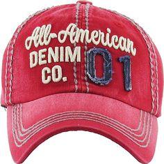 afa0987bfbf KBVT-706 RED Fashion Vintage Baseball Cap Distressed Washed Dad Hat  Adjustable  Amazon.