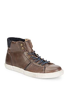 Frye - Bedford Leather High-Top Sneakers