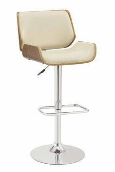 Comfortable and luxurious, this exceptional Contemporary Small-Back Adjustable Bar Height Stool, is designed to create a uniquely modern and chic office space. Ultra modern and chic stool is upholstered in Ecru leatherette and finished in walnut.