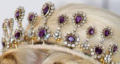 A close up of the amethyst and diamond tiara, possibly given to Queen Sonja of Norway by her husband as a silver wedding anniversary present. More often worn by Princess Mette Merit after 2004