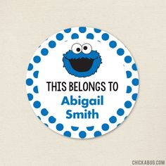 """""""This Belongs To."""" Cookie Monster Stickers - Sheet of 12 or 24 Monster Stickers, Cookie Monster, Paper Goods, Parties, Printables, Holidays, Cookies, Street, Stickers"""