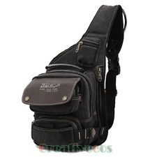 Men Canvas Travel Hiking Riding Shoulder Cross Body Back pack Sling Chest Bag