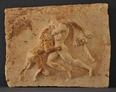 South Arabian relief depicting Herakles fighting the Nemean Lion