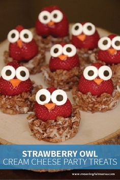 This fruity party snack is made with juicy strawberries and strawberry cream cheese. It's placed in a coconut and Cocoa Krispies® nest for a tasty dessert that's chocolaty and creamy. This treat, which is perfect for an owl- or animal-themed birthday party, is so easy to make with the kiddos.
