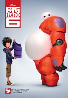 Multiple posters and movie stills for Disney's Big Hero 6, adapted from a comic book series of the same name