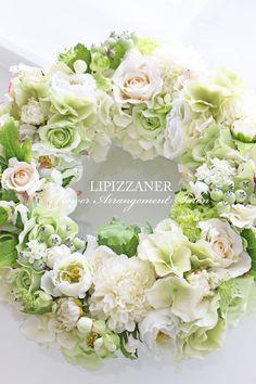 ホワイト×ライトグリーンのナチュラルウェルカムボード   LIPIZZANER Flower Arrangement Salon