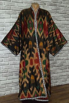 vintage gorgeous uzbek natural pure silk shohi ikat men robe chapan bukhara t486 by easttreasures on Etsy https://www.etsy.com/listing/253149260/vintage-gorgeous-uzbek-natural-pure-silk