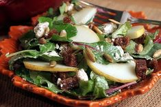 Dewey's harvest salad : with fresh greens, figs, Boursin cheese, sunflower seeds, bacon and apple cider honey vinaigrette.... Delicious!