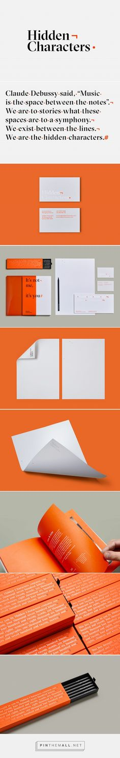 Hidden Characters /Re identity print design business card typography branding logo orange stationery editorial