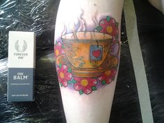 Tea cup tattoo by Cesar Mesquita at Black Garden of Covent Garden. Using Forever Ink Balm for the skin's recovery process