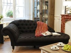 black plush chaise lounge - yes please! for a reading nook??