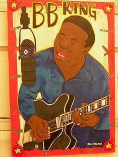 BB King - Dan Dalton Art, Delta Blues, blues music art, blues folk art, outsider art, raw art, mississippi art , mississippi blues