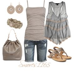 A fashion look from April 2014 featuring striped tank top, jersey tank and ripped shorts. Browse and shop related looks. Cute Fashion, Fashion Looks, Fashion Outfits, Womens Fashion, Fashion Trends, Fashion Ideas, Summer Wear, Spring Summer Fashion, Spring Outfits