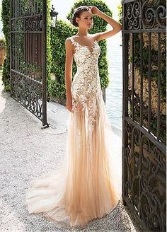 Wedding Dresses empire mermaid/trumpet sheath 2 in 1 sleeveless 3/4-length