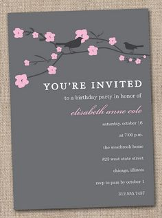 Cherry Blossom Theme cute idea for the invitations (nice color scheme)