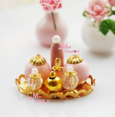 Find More Doll Houses Information about 1/12 Dollhouse Miniature Gold Tray Pink Perfume Set,High Quality trays dental,China tray egg Suppliers, Cheap tray wood from Minidreamworld on Aliexpress.com