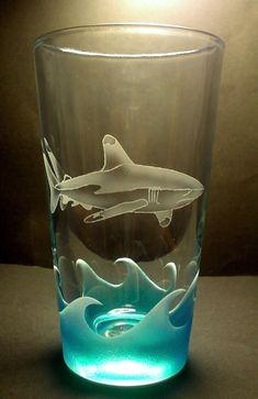 White Tip Reef Shark Pub Glass Sandblasted Painted Shark Bait, Reef Shark, Shark Shark, Oceans Series, Glass Etching, Etched Glass, Sandblasted Glass, Great White Shark, Shark Week