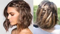 Bonitas trenzas para cabello corto - Nice braids waterfall style for short hair