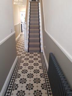 Victorian Hallway, Tiled Hallway, Unique Tile, Geometric Tiles, Stair Runners, Panelling, Cottage Ideas, Tile Design, Hallways