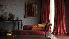 Luxury Decor - Reclining beds - Eclectic Interiors  I love the deep, beautiful wine  red upholstery and curtains in this room. perfect contrast with the intricate muted wallpaper. Fabrics by Harlequin