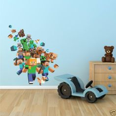 Full Colour MINECRAFT XBOX GAME Wall Art Sticker Boys Decal Transfer Mural Print