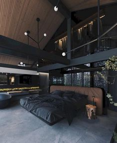 Loft Interior, Black Interior Design, Interior Design Inspiration, Design Ideas, Dream Home Design, Modern House Design, Modern Houses, Dark Interiors, Dream Rooms