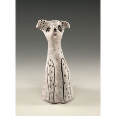 Claude  Sculpted Ceramic White Dog With Black by jennymendes