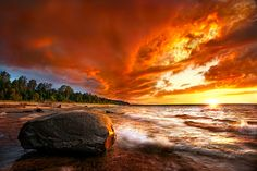 """""""Lake Superior Blazing Sunset"""" by Steve Perry, via 500px."""