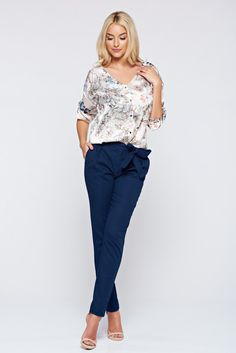 Top Secret darkblue office trousers with pockets and medium waist, with pockets, accessorized with tied waistband, slightly elastic fabric, airy fabric, women`s trousers