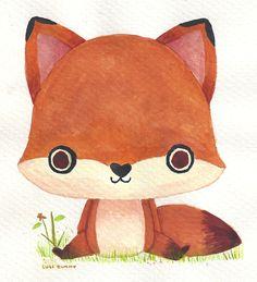 zorrito mini boceto en acuarela. // little fox watercolor doodle.