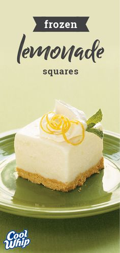 Frozen Lemonade Squares – Lemonade concentrate blended with frozen yogurt tops a graham cracker crumb crust in this frosty, refreshing no-bake dessert featuring COOL WHIP. This recipe is perfect for y (Summer Party Top) Mini Desserts, Lemon Desserts, Lemon Recipes, Frozen Desserts, No Bake Desserts, Easy Desserts, Delicious Desserts, Cake Recipes, Dessert Recipes