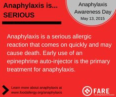 Anaphylaxis Day 5-13 | During Food Allergy Awareness Week, FARE recognizes the critical need to raise awareness and educate the public about the most severe type of allergic reaction: anaphylaxis (an-uh-fil-LAX-is). That...