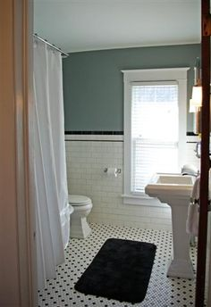 Black And White Tile In A Vintage Or Retro Bathroom