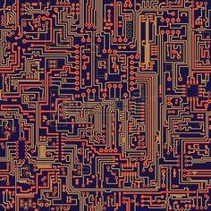 Seamless vector color texture electronic circuit board Stock Vector: