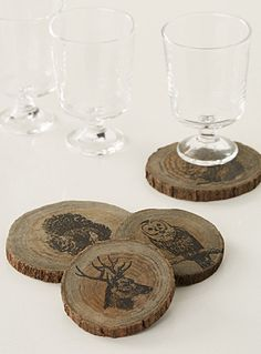 A favourite with decorative forest animals printed on small natural wooden logs for an ultra trendy rustic chic style.    Set of 4 per package   Various sizes