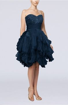 Navy Blue Prom Dress - Modern Sweetheart Sleeveless Zip up Knee Length Pleated