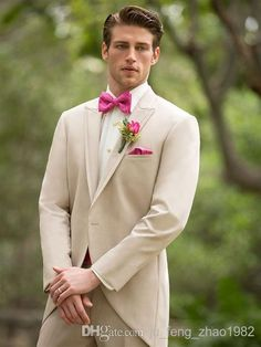 Slim Fit One Buttons Business Groom Tuxedos Peak Lapel Beige Groomsmen Best Man Suits 2014 Custom Made Wedding Prom Suits For Men