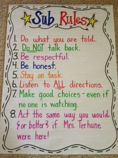 This poster is such a good idea to remind young classes how they are expected to act when their teacher is not present. It's colorful and catches young eyes. This organization tip would benefit students learning by keeping them focused when the teacher is gone. If students follow these expectations they will create an environment where learning can take place.