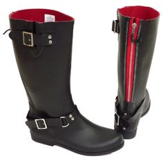 Womens Black or Red Wide Calf Biker Zip Up Wellington Rubber Rain Boots Size 3 8 | eBay