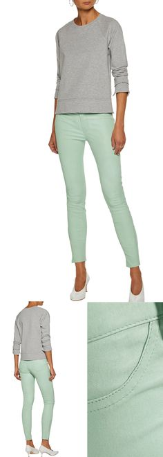 J Brand Stretch-REAL LEATHER Skinny Pants in Mint new in at the Outnet online. Ankle Grazer Leather Jeans with Zip Ankles. Wear with a Pair of Killer Heels, and a White Winter Coat, for Uber Sexy Winter Fashion. Outfit inspiration, blogger outfit ideas. #blogger #fashionista #outfitinspiration #winter #winterfashion #affiliate #outnet #shopping #leather #fallfashion #pastels #wearpastels