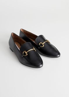 1ca25b49c46 Back image of Stories equestrian buckle loafers in black Loafers Outfit