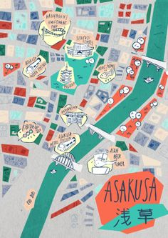 Asakusa Map, Tokyo by Soraya Santamaria