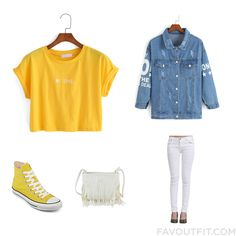 Perfect Outfit Mix And Match With Shein(Sheinside) Letter Print Crop Yellow T-Shirt, Shein(Sheinside) Blue Lapel Shark Print Denim Jacket, White Ripped Slim Denim Pant, Converse Chuck Taylor All Star  High-Top Sneakers- Unisex Sizing, New Fashion Style Pu Leather Tassel Along Lady Bag. Find Out Where To Buy The Things You Love In This Outfit Idea From August 2015.