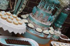 damask party ideas | Milestone Birthday in Aqua & Damask