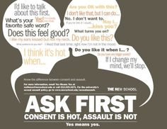 """""""Ask first: consent is hot, assault is not."""" (For real - there are plenty of…"""
