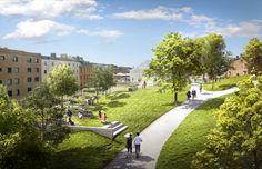 Imagen 2 de 5. Un parque público se construirá en las azoteas de los edificios. Imagen © Utopia Arkitekter y LOLA Lovely landskap