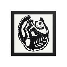 Framed Poster, Black Cat Skeleton Matte Wall Art Print, Halloween Decorations, Gothic Decor #GothicArt #CatArt #ArtPrint #FramedArt #MattePrint #CatPrint #SkeletonCat #BlackCat #GothicDecor #FramedPoster Cat Skeleton, Minimalist Art, Wall Art Prints, Halloween Decorations, Original Artwork, Matte Black, Cats, Frame, Illustration